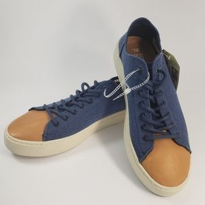 Toms Men Navy Washed Canvas Leather Toe Sneakers